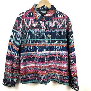 Chico's Denim Jacket Embroidered Artsy Art To Wear